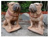 Pair Vintage English Lifesize Bulldog Animal Stone Garden Statues Winston & Duke