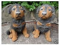 2 Matching Vintage Small Stone Rottweiler Guard Dog Pup Garden Gatepost Statues