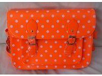 New Woman's Ladies Fashionable Orange Polka dot Leather Style Large Satchel, Shoulder, Handbag.