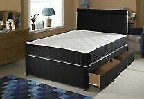 BLACK UPHOLSTERED DOUBLE DIVAN BED ORTHO MEMORY MATRESS FREE HEADBOARD DELIVERY AVALIABLE