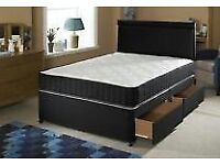 BLACK UPHOLSTERED DIVAN COMPLETE WITH ORTHOPAEDIC MATRESS MATCHING HEADBOARD