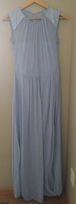 Dessy Collection 2922 Sleeveless Formal Dress 8 Blue Sequins Bridesmaid