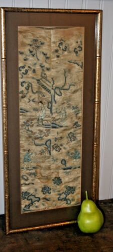 Antique Chinese Silk Embroidery Forbidden Stitch Embroidered Panel Sleeves