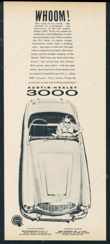 1960 Austin-Healey 3000 car illustrated vintage print ad