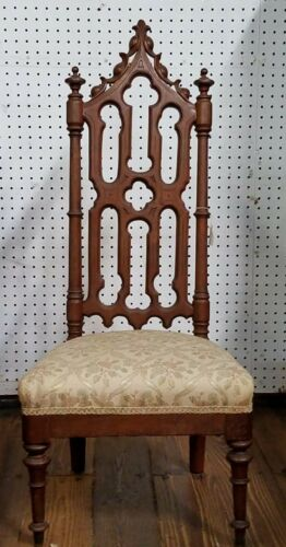 Gothic Revival Chair Carved Walnut - Low Upholstered Seat - Antique - $284.95