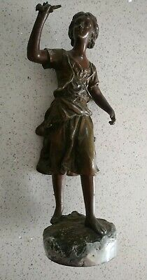 AF Antique Bronzed Spelter Woman French? Figure, Figurine 32cm Tall