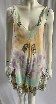 JULIET DUNN Pastel Tie Dye Sleeveless Sequin Embellished V Neck Top ONE SIZE
