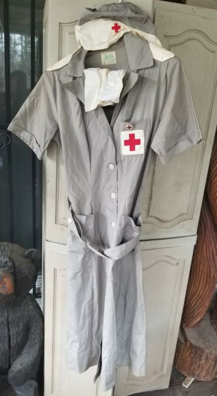 Rare WWII American Red Cross Gray Ladys Dilly Uniform w/ Hat, belt, badge sz 36