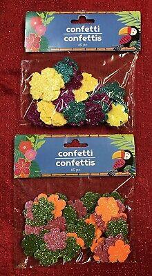 2-60 Pks Glitter Hibiscus Flowers Table Scatter Arts Craft Tiki Luau Hawaiian (Luau Crafts)