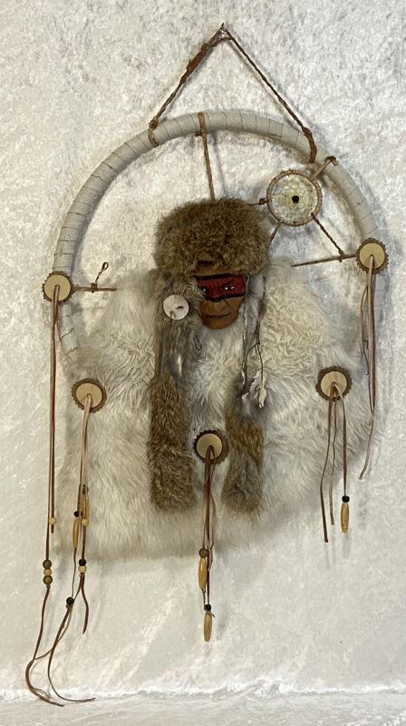"Dream Catcher Vintage Native American Fur Leather Beads 14"" Around Repurpose Pro"
