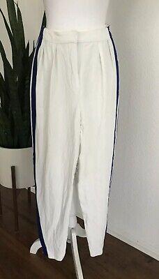 Alexander McQueen Women's White Pants w/Blue Side Stripes Zip Ankles Size 44