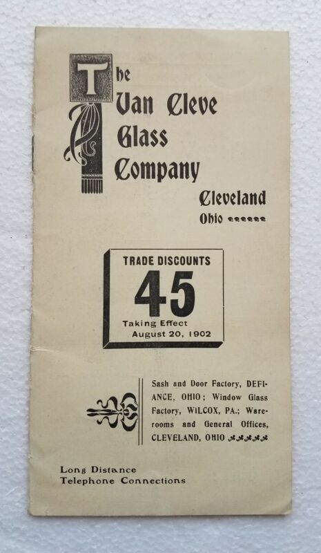 Van Cleve Glass Co 1902 Window Glass Trade Price List Brochure Cleveland Ohio