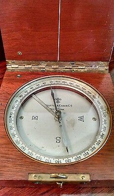 KEUFFEL & ESSER NEW YORK COMPASS SURVEYING TOOL HANDSOME VTG WOOD BOX CASE 360°