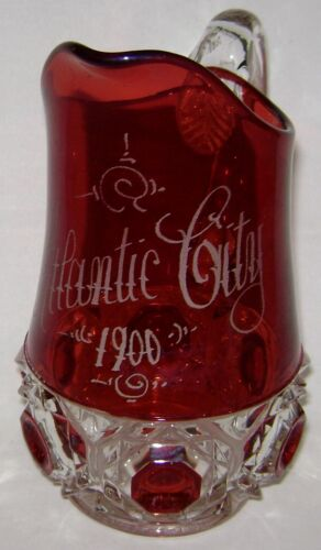 """EAPG 1900 Atlantic City Ruby Stained Glass Pitcher 7.5"""""""