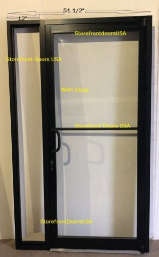 "Storefront Door LH offset-pivot 3X7 Bronze anodized w-GLASS, Closer& 12""sidelite"