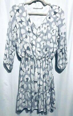Ministry of Style Womens Size 6 Tassel Neck Peasant Dress Ruffle Bottom Boho