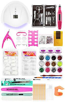 Nail Art Kit Set Acrylic Powder+UV light+Clippers+Electric Nail File+French Tips