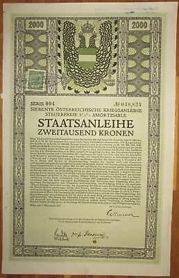 ÖSTERREICH AUSTRIA 7. Kriegsanleihe 2.000 Kronen 1917 Austrian War Loan