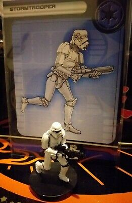 Star Wars Miniatures Stormtrooper 38/60 + Card Rebel Storm Free P&P