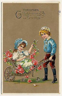Namenstag KINDER & SCHUBKARRE / CHILDREN & PUSHCART Name Day * Vintage 1910s PC