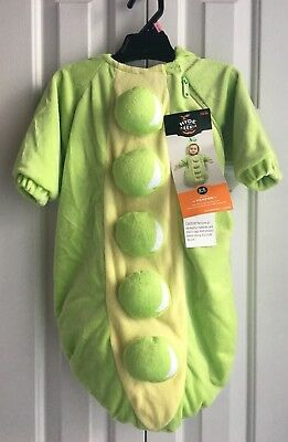 Infant Halloween Peapod Costume 0-6 Months Green Hood Hyde and Eek!