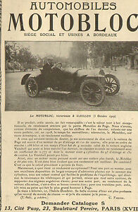 bordeaux automobiles motobloc gaillon publicite 1910 ebay. Black Bedroom Furniture Sets. Home Design Ideas