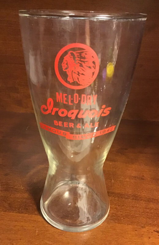 """Vintage 1950s Iroquois Melo-Dry Beer Glass Hour Style  6 1/2"""""""