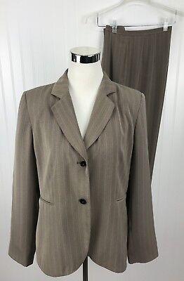 Harve Benard Suit Womens Size 12 Beige Pinstripe Career 2 Pc Pant Jacket Button
