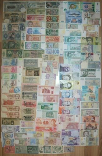 Lot of different world banknotes - 106 pcs