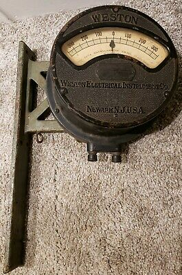 Large Antique Weston Volt-milliammeter Gauge Meter With Bracket - W.u. Tel. Co.