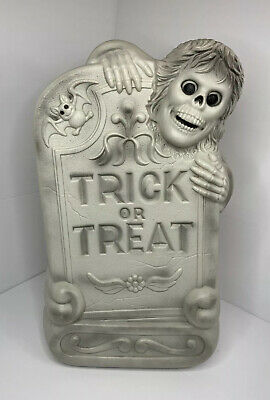 """29"""" Halloween Lighted Blow Mold Trick Or Treat Tombstone Grave Skeleton & Bat"""