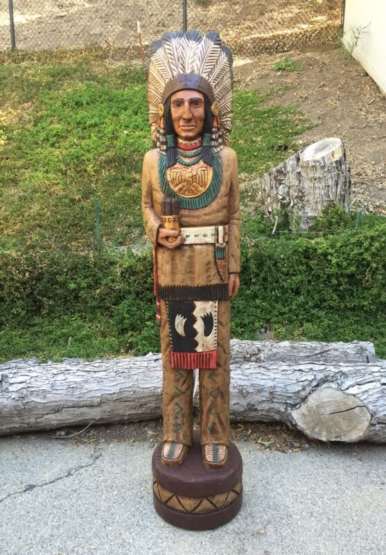 John Gallagher Carved Wooden Cigar Store Indian 5 ft.Tall very detailed statue