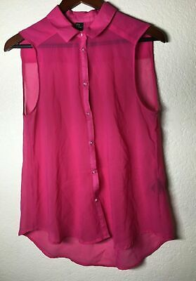H&M WOMENS SIZE 10 HOT PINK SLEEVE LESS BUTTON UP COLLAR SEE-THROUGH BLOUSE