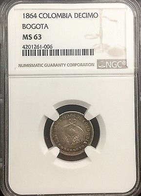 Click now to see the BUY IT NOW Price! 1864 COLOMBIA DECIMO BOGOTA   NGC MS63  ORIGINAL  CARTWHEEL LUSTRE TONED