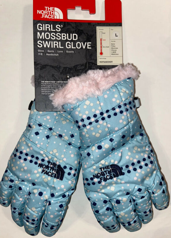 NWT The North Face Girls Mossbud Swirl Glove Windmill Blue Dot Pink Size LARGE