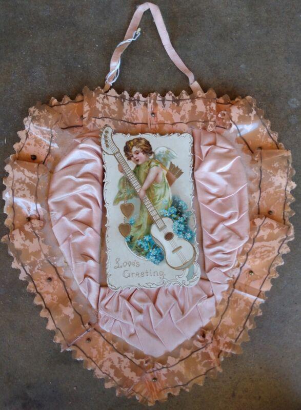 "Vintage Victorian Style Valentine Card Ribbon Silk 10"" X 10"""
