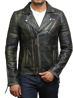 Brandslock Mens Genuine Leather Biker Jacket Vintage Retro