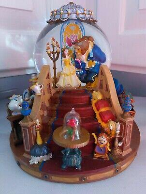 1991 Disney Beauty and The Beast Musical Snow Globe Fireplace & Music Work