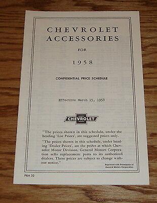 Chevrolet Truck Accessories Brochure - 1958 Chevrolet Car & Truck Accessories Price List Brochure 58 Chevy