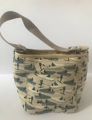 NWOT Tod's Canvas Tote Bag Beige With Blue Figures Small Size