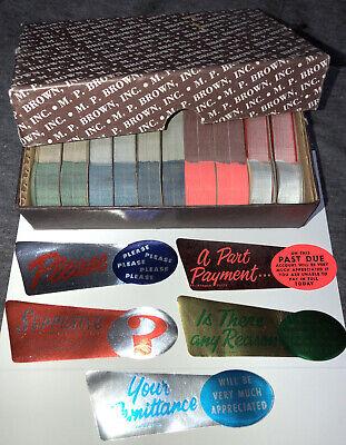 VINTAGE Office M.P. BROWN INC Shiny Collection Stickers Set Burlington IOWA NOS