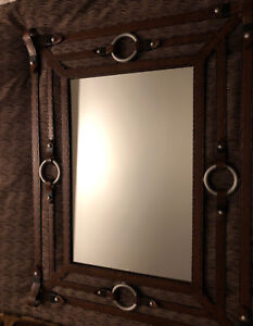 Steel and brown leather mirror