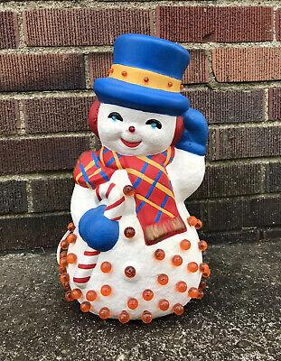"Vintage Ceramic Snowman Light Up 13"" Christmas Winter Lamp Twist Bulbs WORKS"