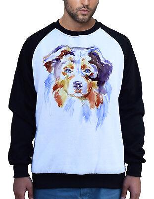 Men's Watercolor Australian Shepherd Dog White Raglan Sweatshirt Pet Puppy - Australian Shepherd Sweatshirt