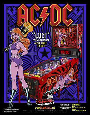 AC/DC Pinball FLYER Luci Premium Edition 2013 Original Hard Rock & Roll Art