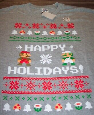 Nintendo SUPER MARIO BROS. CHRISTMAS SWEATER STYLE T-Shirt MENS XL NEW Luigi