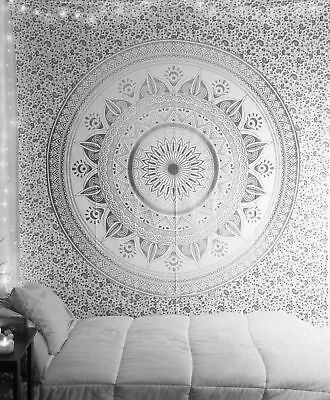 Black Gray Ombre Mandala Wall Hanging Cotton Throw Table Runner Queen Tapestry