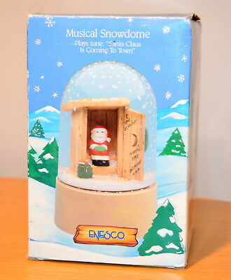 "Vintage 1988 ENESCO ""Takin A Break"" Musical Snowdome - Made in Hong Kong"