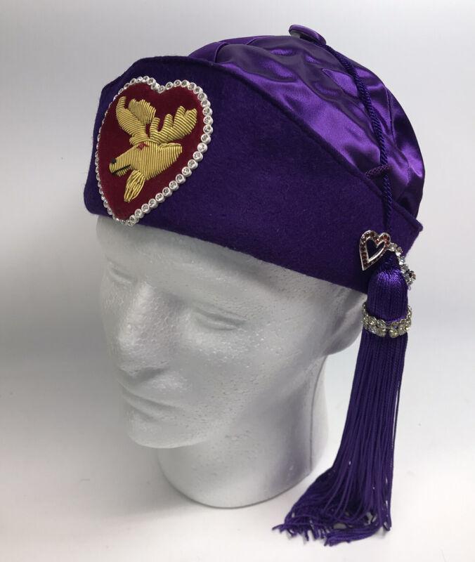 VTG Purple Royal Order of Moose Ceremonial Lodge Satin Hat Tassel & Rhinestones