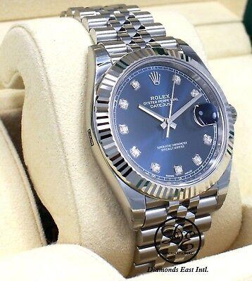 Rolex Datejust 126334 41mm Jubilee Blue Diamond Dial 18K W Gold Bezel *UNWORN*